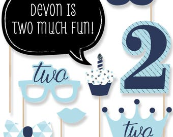Two Much Fun - 2nd Birthday Boy Photo Booth Kit - 20 Photobooth Props with Custom Talk Bubble for Birthday Parties