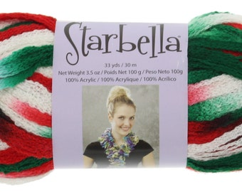 """Starbella Yarn, 3 Skeins, Color 15-25, """"Christmas"""", Red, White, Green, Premier Yarns, 100% Acrylic"""