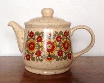 Sadler Floral Teapot. Speckled Stoneware. 1970's.