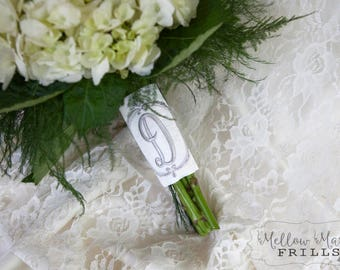 Custom Monogram Bridal Bouquet Wrap ~ Brooklyn Monogram Frame