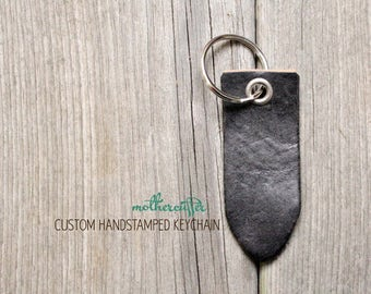 CUSTOM HANDSTAMPED black leather keychain by mothercuffer