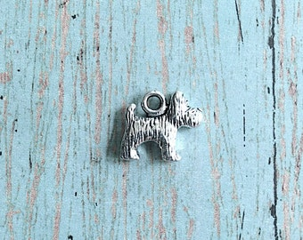 8 Small terrier dog charms 3D antique silver tone - Scottie dog pendants, dog charms, Scottish terrier charms, terrier pendants, S16