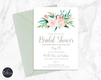 Bridal Shower Invitation, Personalized, DIY Digital Printable Invite (800)