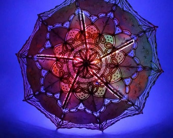Light Up Parasol | COTTON Orange/Yellow w Ultra Violet LEDs