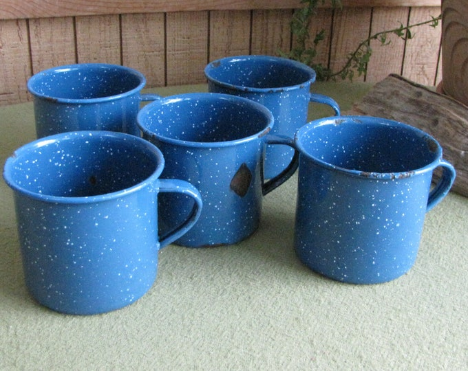 Blue Speckled Enamel Coffee Cups Camping Gear Vintage Metal Mugs Set of Five (5)