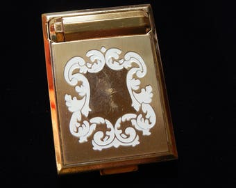 Vintage Richard Hudnut Compact Gold Tone Compact with Mirror and Lipstick Holder Richard Hudnut Compact