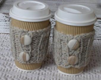 knitted coffee cozy, Coffee sleeves, coffee, tea cozy
