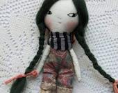 "wee little wonder doll - 5""ish handmade cloth doll with long green braids"