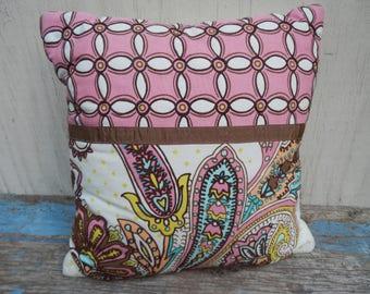 Cute Mod Cotton Paisley Decorative Pillow!