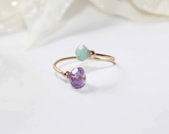Fine gold filled ring with amethyst and larimar stones