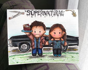 Custom YOU Supernatural Card, Dean Winchester, you and Favorite Character Card, hand drawn, made, OC, OTP, draw me, sam winchester, fandom,