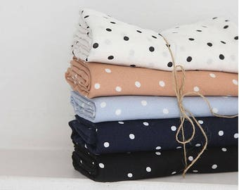 Polka Dots Pattern Cotton Double Gauze Fabric by Yard- 5 Colors Selection