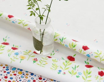 Laminated Flowers Pattern Cotton Fabric by Yard - White Color