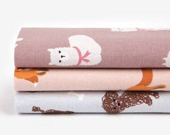 Animal 2- Quarter Fabric Pack 3 Oxford Fabric 1 set - Sets for 3 each 45 X 55 cm