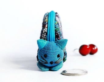 Cat coin purse, Coin purse zipper, Zipper pouch, Change pouch, Purse zipper, Gift