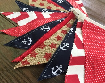 Nautical Fabric Bunting Patriotic Banner, Flags Pennants Garland 4th of July Party Decoration Summer Photo Prop Red White & Blue Banner