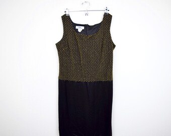 Black + Gold Vintage LBD / Size 18 / Plus Size / Party Dress / Made in USA / Sleeveless