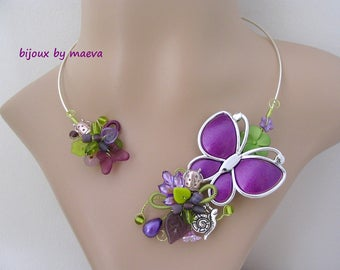 costume jewelry necklace purple and green butterfly