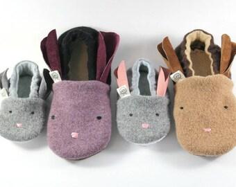 Kids Bunny Slippers- Baby Shoes- Boy Gifts- Kids Pajamas- Kids Slippers- Birthday Gift- Girl Gifts- Wool Bunny- Bunny Ears- Christmas Gift