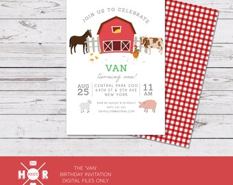 Printable - The 'Van' Farmyard Birthday Invitation | Baby Shower | Barnyard | Tractor | Farm | Animals