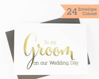 Gold Foiled Card, To My Groom Card, Silver Foiled Cards, Wedding Day Card, Wedding Day Cards (WC001-CN-F)
