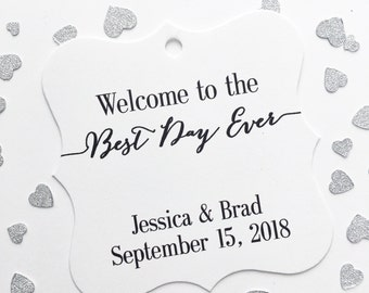 Best Day Ever Custom Wedding Tags, Custom Wedding Hang Tags, Custom Wedding Favor Tags  (FS-057)