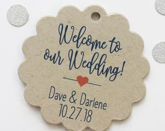 Welcome to Our Wedding Kraft Cardstock Wedding Tags, Wedding Favor Tags, Favor Tags, Party Favor Tags (SC-219-KR)