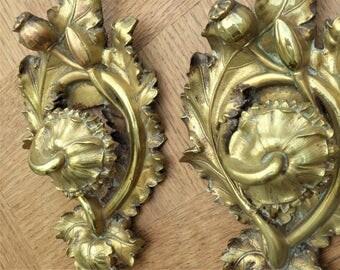 Antique French Bronze Drapery Tieback Wall Hooks.  Hardware