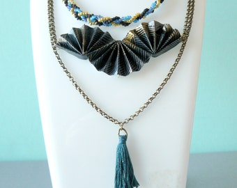 Necklace multi row range black Japanese paper origami, braided beads and hanging