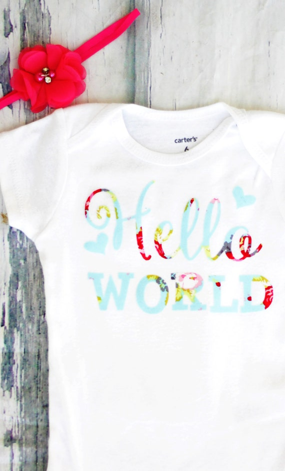 Go Hello World: Girl Newborn Onesie Hello World Matching Headband Baby Shower