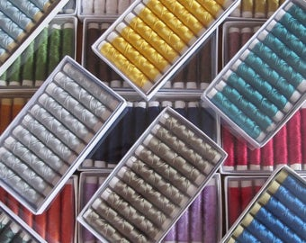 SILKA natural silk embroidery thread, SPECIAL PACK 35 spools of 32 ft (10m),  each different color