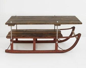 sled coffee table, ski resort coffee table, cabin coffee table, handmade coffee table, repurposed wood coffee table,coffee table,