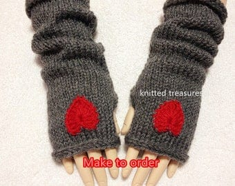Angola Mohair Wool Fingerless Gloves, Heart Color Choices.