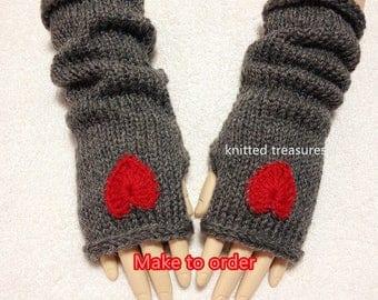 Angola Mohair Wool Fingerless Gloves, Heart Color Choices.