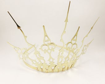 Gold Tiara - Dragon Crown - Gold Crown - Gothic Tiara - Evil Queen Crown - Dragon Tiara - Evil Tiara  - Gold Steampunk Crown - Fairy Crown