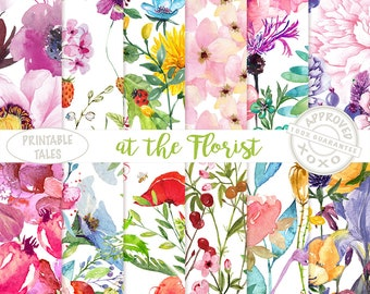 Watercolor Flowers Digital Paper, Floral Papers hand painted poppy iris rose dandelion buttercup hyacinth passion flower - Blooming Pages