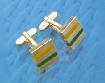 Cufflinks Gold Tone Metal With Channel Set Lucite Stripes of Green and Yellow - Gift Box