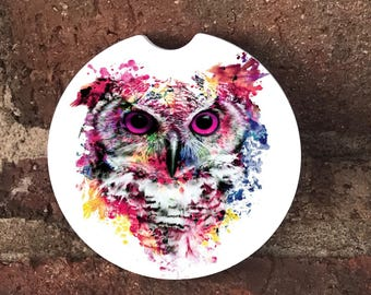 Custom Colorful Owl  Sandstone Auto Car Cup Holder Coasters (set of2), Absorbent Sandstone Custom Car Coasters (set of2) Gift Ideas