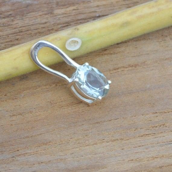Prasiolite Gemstone Pandant, Green Amethyst Pandant, 925 Sterling Silver Oval Cut Prasiolite Pandant, Birthstone Pandant, Designer Gift