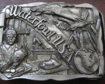 FATHERS DAY Gift - 1988 Limited Edition Waterfowl USA - Vintage Pewter Belt Buckle  - American Bucks for American Ducks - Gifts for Guys