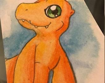 Agumon Watercolour Card