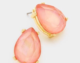 Stud earrings, peachy pink, light peach, glass beads, teardrops, gift for her, bridesmaids gift.