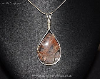 Sterling silver and cherry quartz pendant