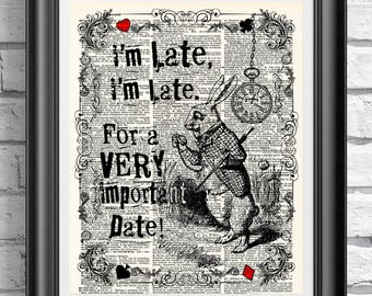 Alice in wonderland book page print, The White Rabbit I'm Late Poster, Wall decor, Dictionary