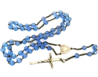 Vintage French Blue Glass Rosary