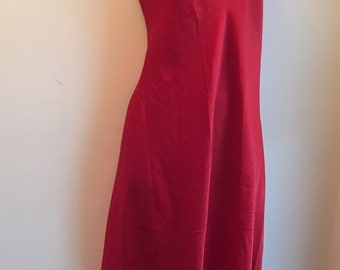 Vintage red satin full length night dress size 12
