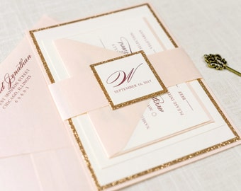 Rose Gold Glitter, Blush and Ivory Wedding Invitation and RSVP Card Suite - Elegant, Glam, Formal - The Darling Suite