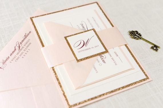 Ivory Wedding Invitations: Rose Gold Glitter Blush And Ivory Wedding Invitation And RSVP