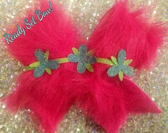 Poppy Inspired Fuzzy Cheer Bow!