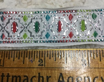 Brocade Trim - Teal, Chartreuse, Dark Coral, Silver on White